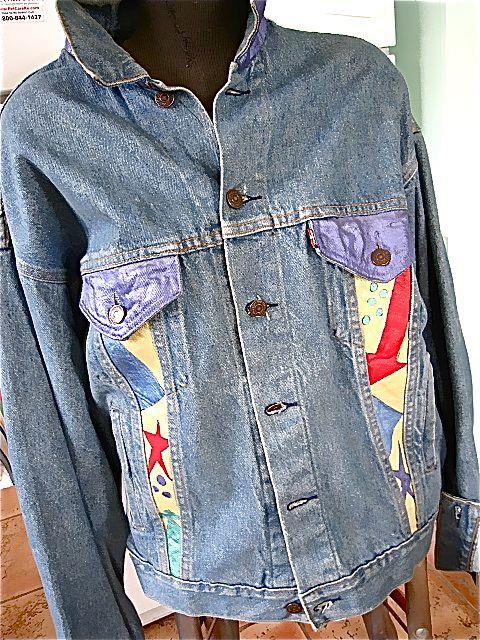 Vintage Levi S Denim Hand Painted Jacket Wolf 1980 Quot S