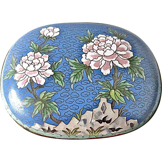 Vintage Chinese Cloisonne Box - Mint - Blue w/Pink Flowers