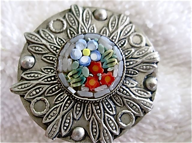 Vintage Italian Silver & Mosaic Pin C Clasp Charming