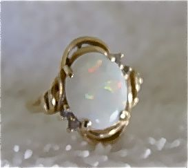 Fire Opal & 14K Gold Ring 1960's Style Size 5 3/4