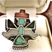 Vintage Zuni Pueblo Knife Wing Kachina Ring Inlaid 4 1/2""