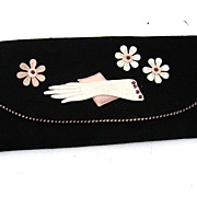Vintage 1950'S Pink & Black Felt Glove Case Fabulous! - Red Tag Sale Item