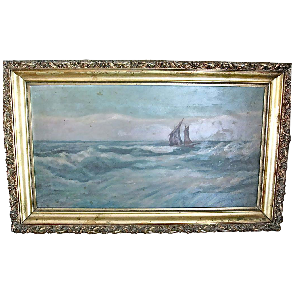 Antique Sailing Painting In Original Frame Berry & Leaf Design Aesthetic Movement