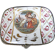 Vintage French Porcelain Dome-Top Trinket/ Vanity/Boudoir Box With Maidens Theme