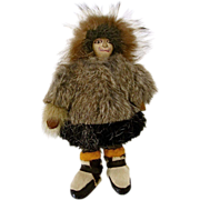 "Antique Eskimo Inuit Native American Doll 9"" Leather Face & Body"