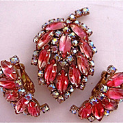 Vintage Spectacular  Pin & Earrings Set Pink AB & Rhinestones Must see