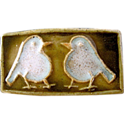 Vtg. Modern Danish Ceramic Pin-Pair of Birds Signed CUB