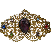 Vintage Gold Tone Filigree Stone Pin-Stunning Fabulous