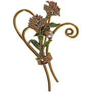 Vintage Sterling Gold Fill Carnation Enamel pin