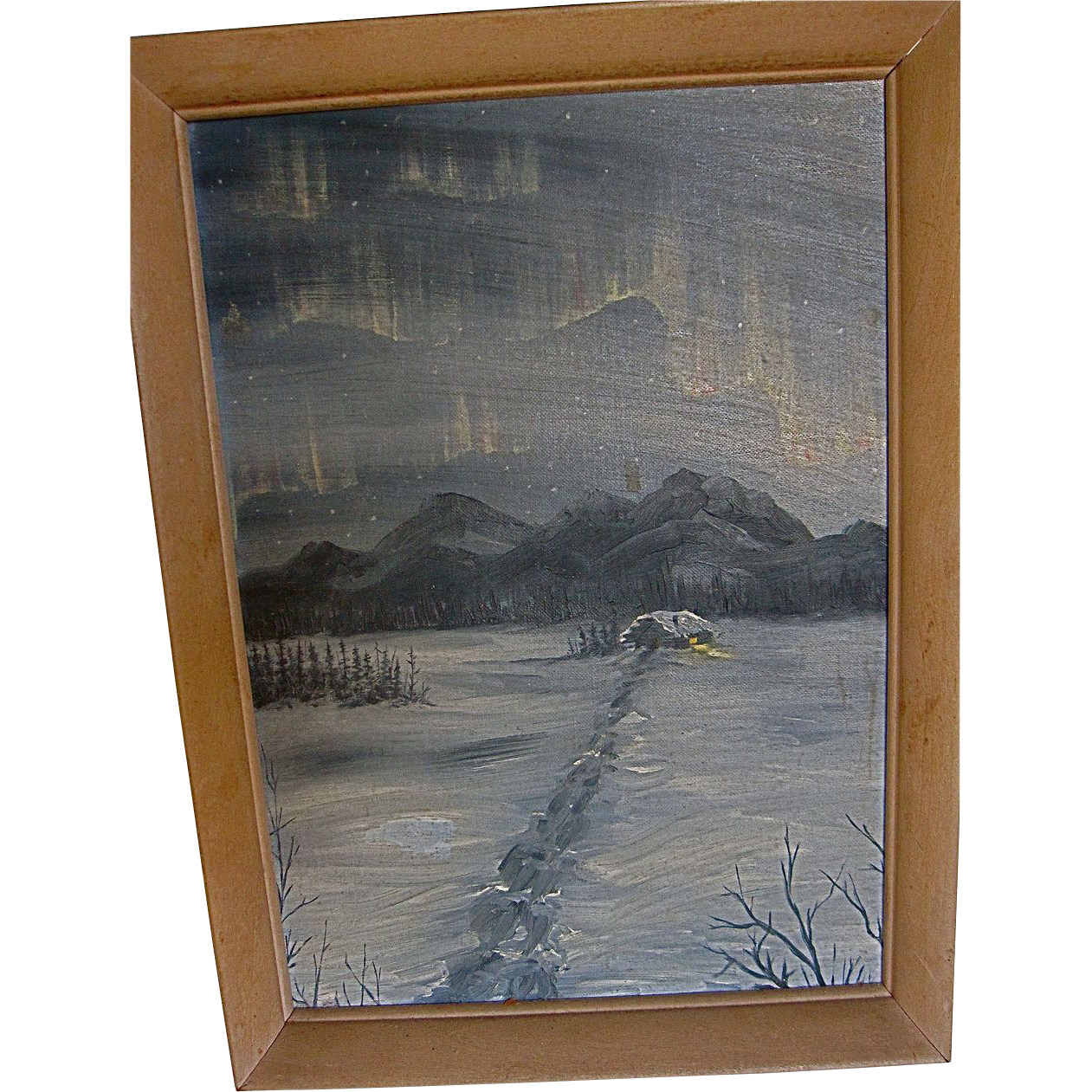 Vintage Alaskan Northern Lights Painting Early 40's-50's Alaskan Artist unsigned