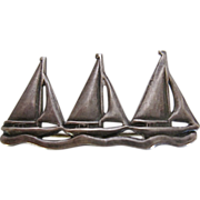 Vintage Sterling Silver Sailboats Racing Pin