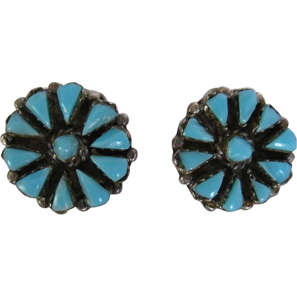 Vintage Zuni PetitPoint Needlepoint Turquoise & Sterling Silver Clip Earrings
