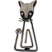 Taxco Vintage Mexican Delfino Sterling Silver Cat Modern Mid-Century