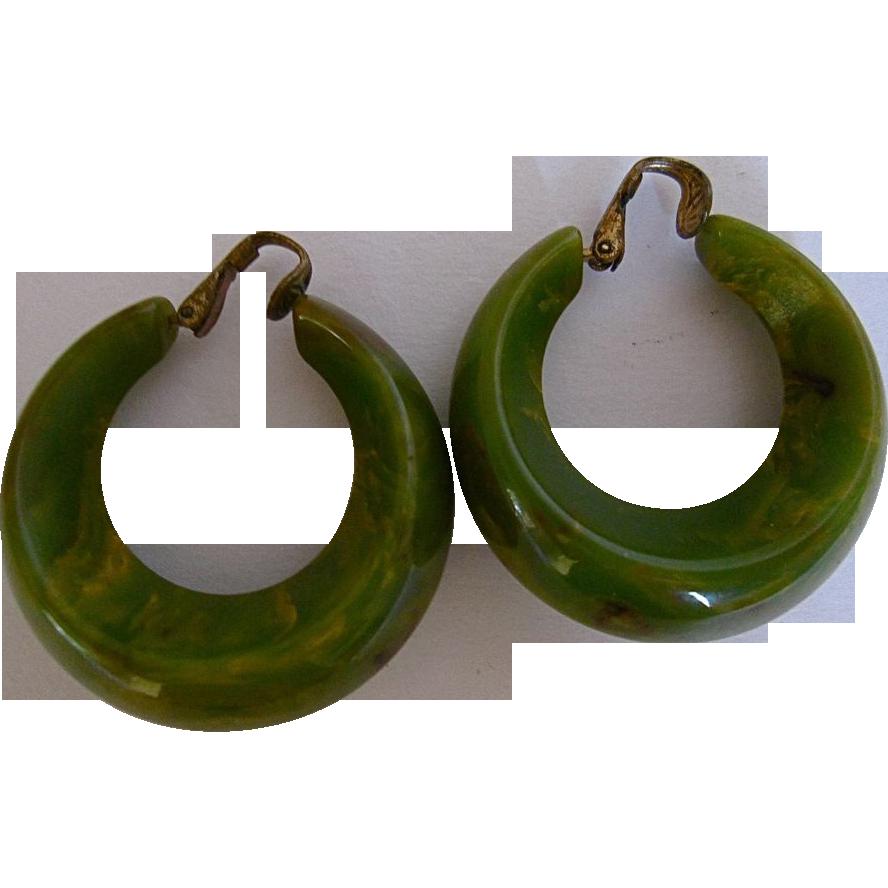 Vintage Bakelite/ Catalin Swirl Marbling Hoop Clip - On Earring