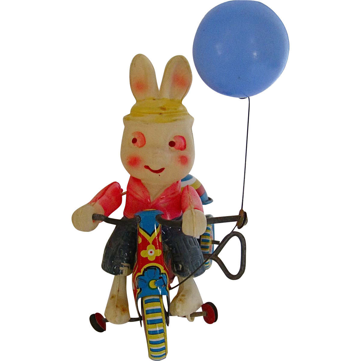 Japanese Tin Toys : Vintage japanese wind up tin toy rabbit riding a tricycle