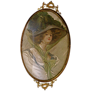 Victorian Brass & Glass Vanity Tray Victorian Women Print Insert