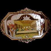 Vintage Last Supper Print Tin Frame Convex Glass Folk Art