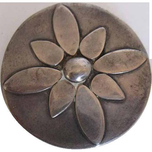Vintage Retro Streamline  Mid-Century Sterling Silver Hand Made  Pin