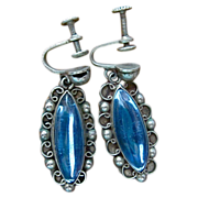 Old Mexican Sterling Silver Cobalt Blue Stone Dangle Earrings Screw Backs