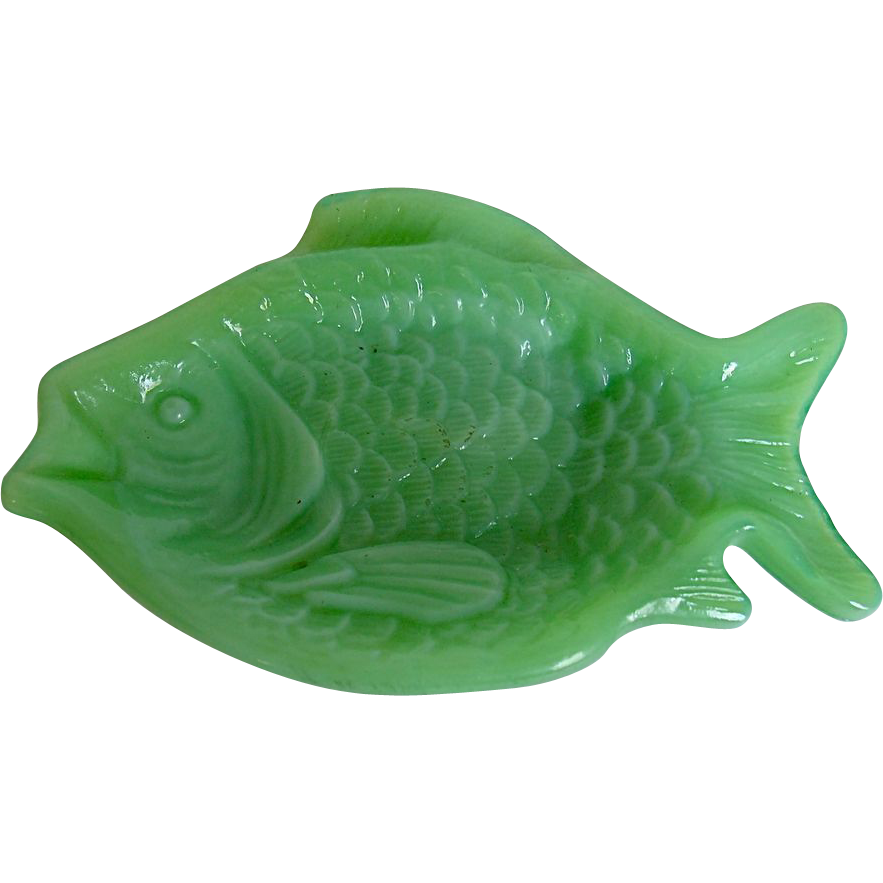 Vintage Akro Agate Slag Glass Jade Green Dish Fish Shaped