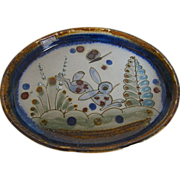 Vintage Ken Edwards  Stonewear Pottery Rabbit Bunny Tonala Vanity Tray Dish