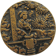 Victorian Oriental Geisha Brass Metal Button-large