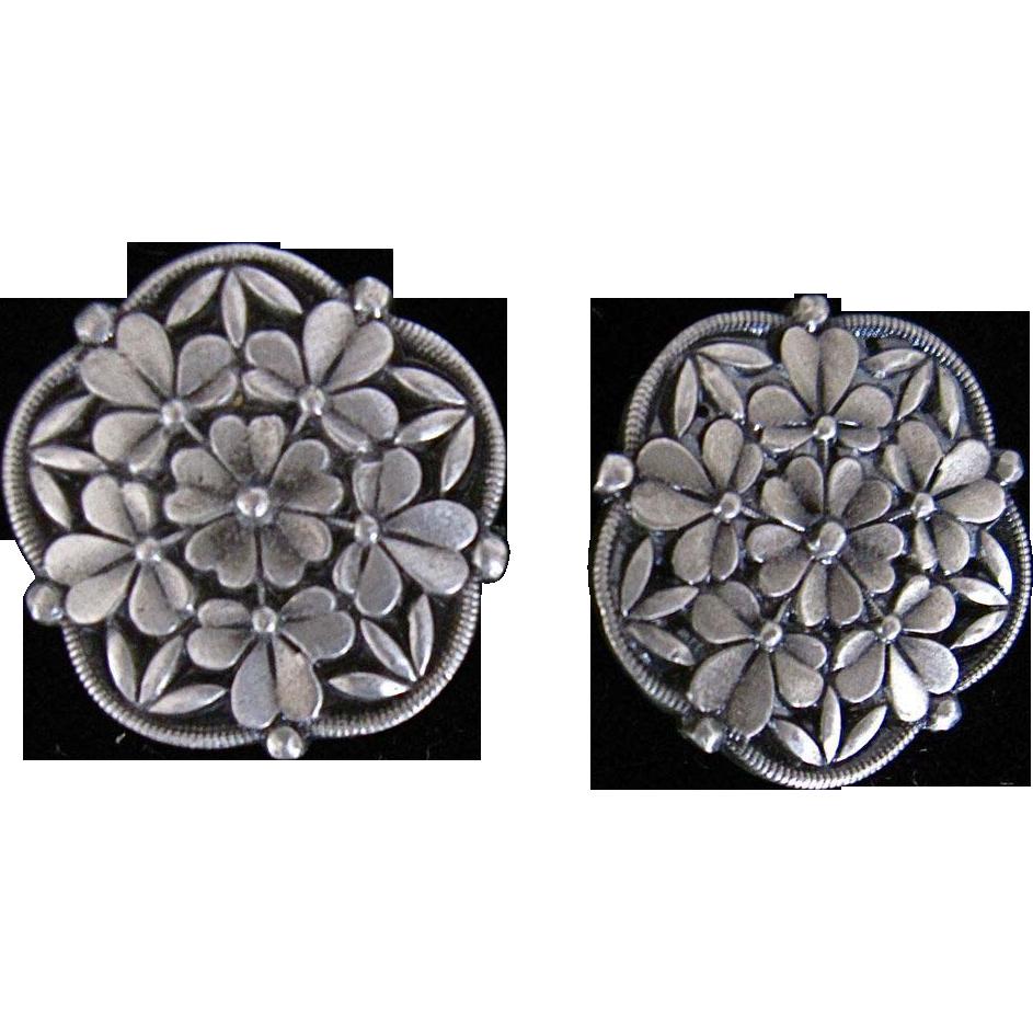 Vintage Pewter Buttons Floral 1976 large Battersea Ltd.