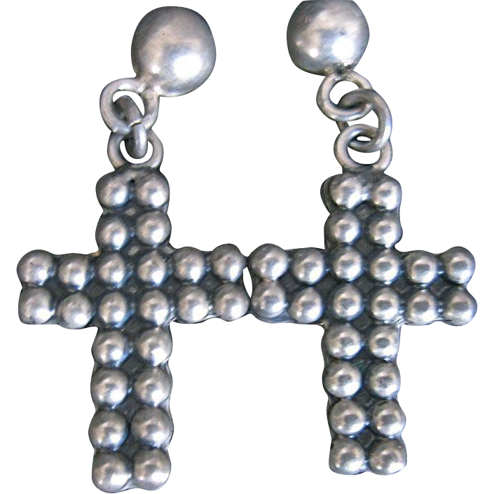Vintage Mexican Taxco Sterling Earrings Crucifix Cross Pierced Earrings TR-15