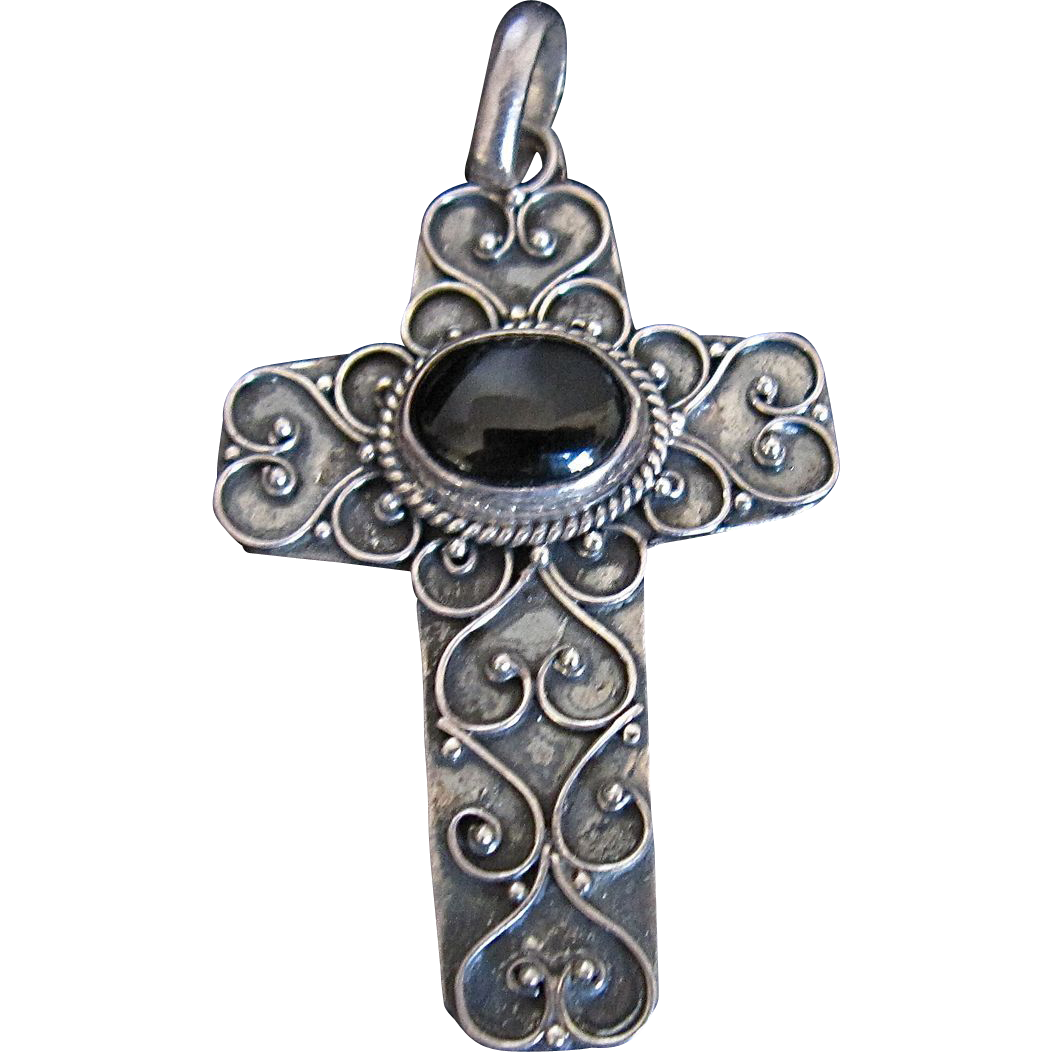 Sterling Silver Cross Filigree Black Onyx Stone 925