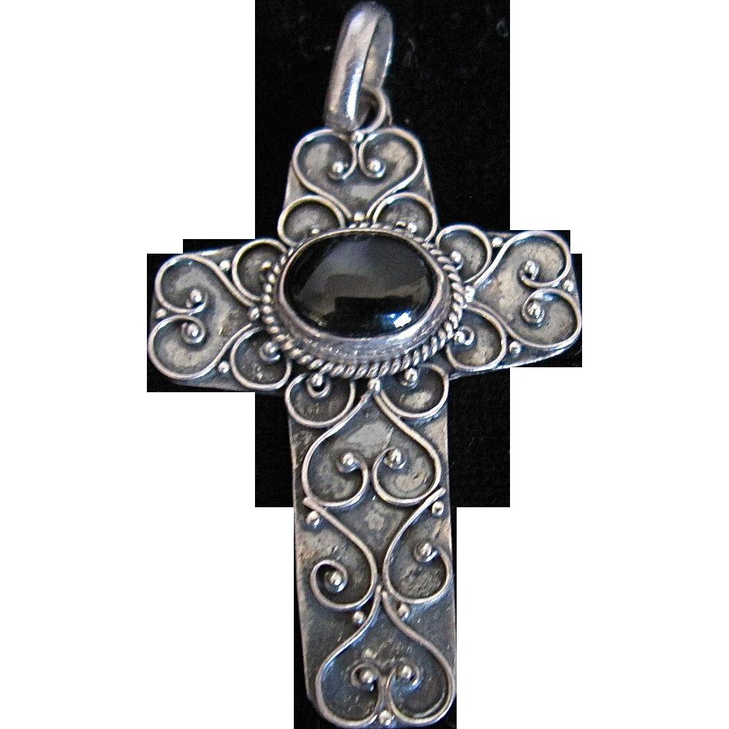 Sterling Silver Cross Filigree Black Onyx Stone 925