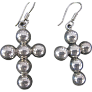 Vintage Mexican Taxco Sterling Silver Ball Cross Earrings Large