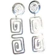 Vintage Silvertone Dangling Greek Key Earrings Pierced Long