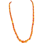 Art Deco Vintage Amber Butterscotch  Honey Graduated Beads Necklace