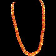 Art Deco Vintage Amber Butterscotch  Honey Graduated Beads Necklace