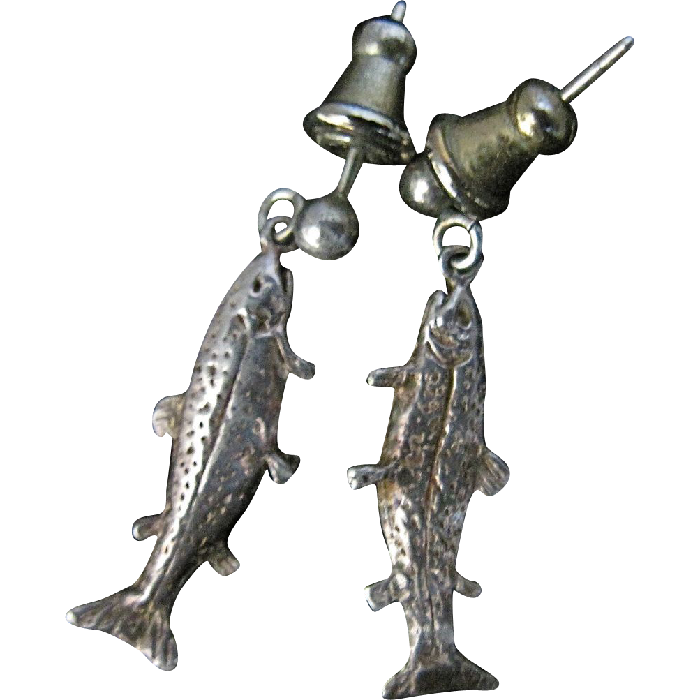 Exquisite Vintage Sterling Silver Fish Trout Dangling Earrings Pierced