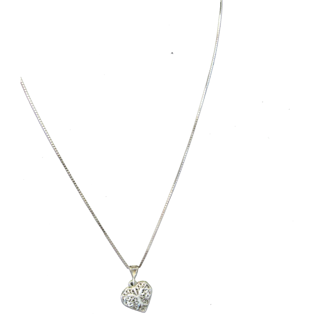 Sterling Silver Pierced Heart & Necklace Great Detail
