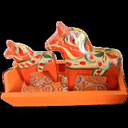 "Vintage Hand Painted Swedish Nils Olsson Dala Horses & Tray Pair Orange 4"" & 3"""