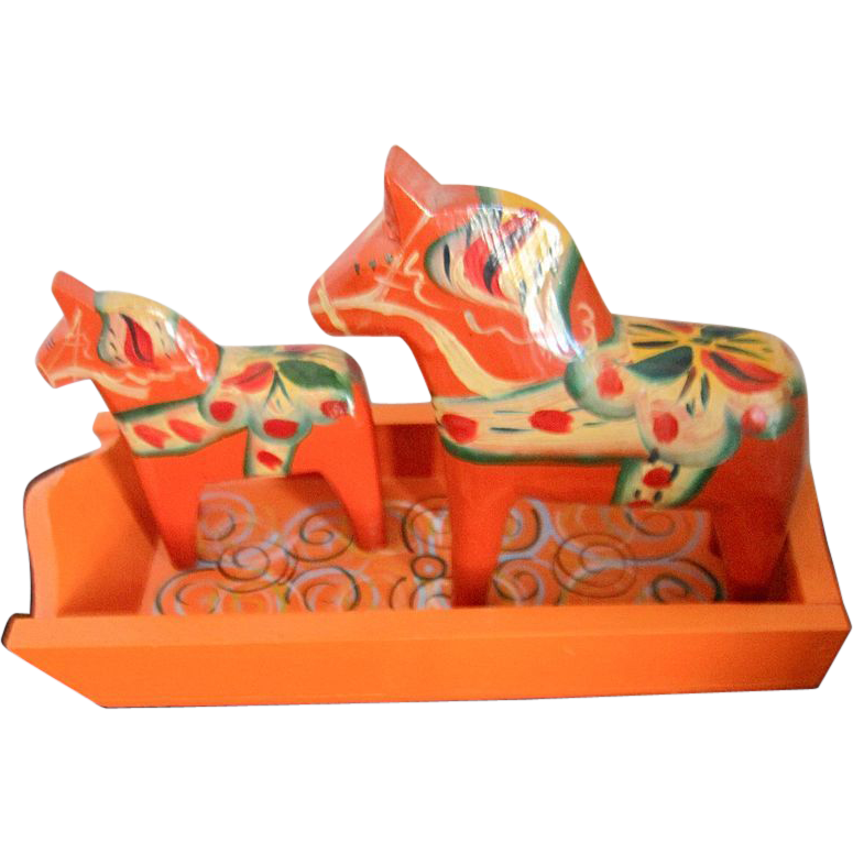 "Vintage Hand Painted Swedish Nils Olsson Dala Horses & Tray Pair Orange 4"" & 3"""