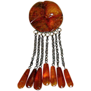 Vintage Baltic Honey Amber Dangling Pin & 7 Amber Teardrops
