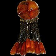 Vintage Baltic Honey Amber Dangling Pin & 7 Amber Teardrops