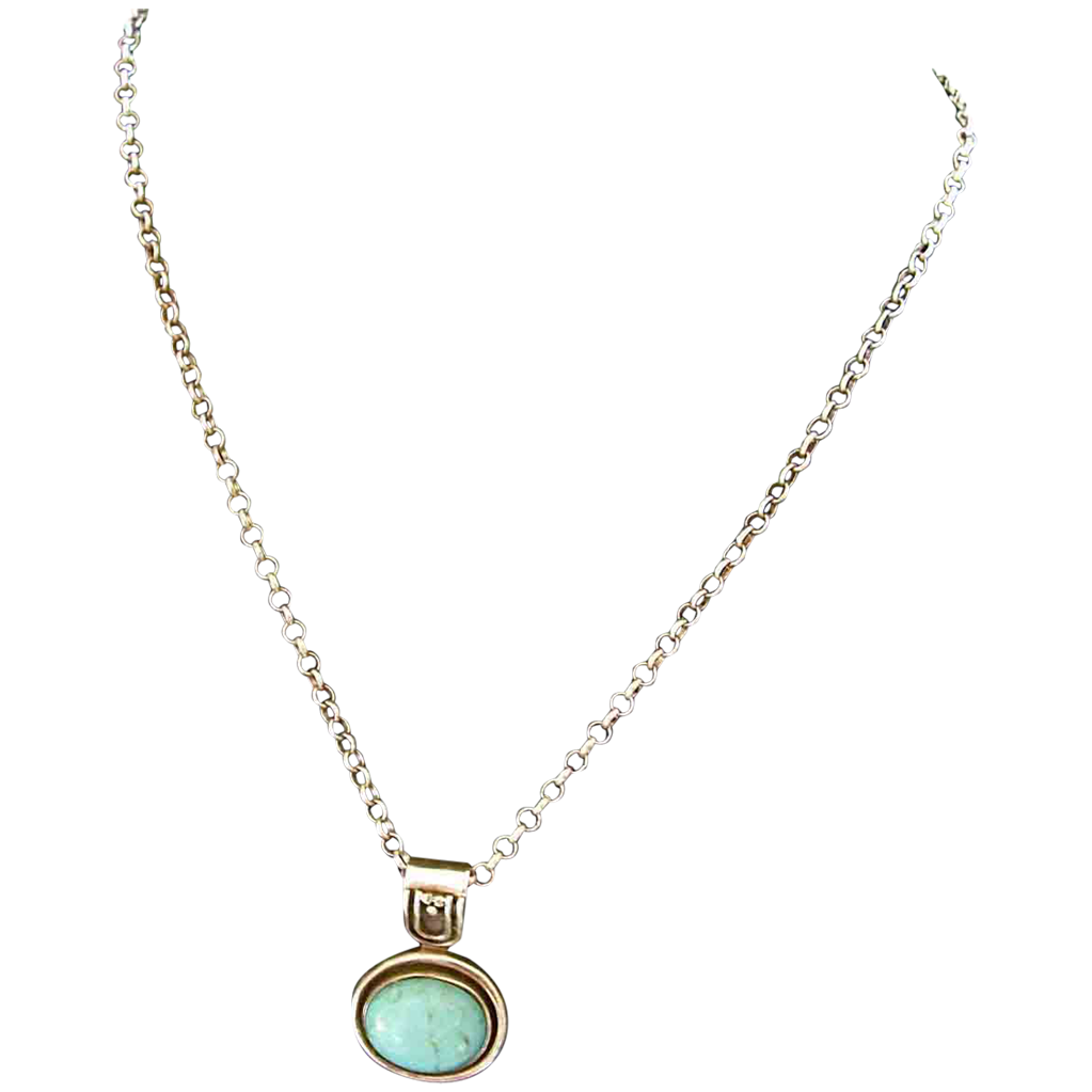 Streamline Modern Turquoise & Sterling Silver Pendant and Italian Chain