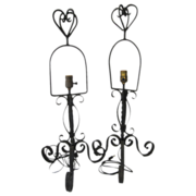 Pair Art Deco Table Lamps Mexican Wrought Iron Fabulous