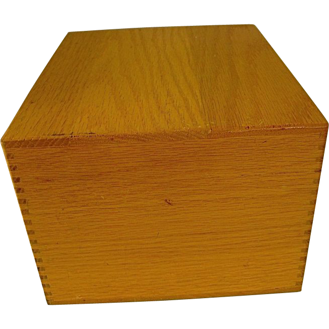 Vintage Oak Merchants Box Co.  File Wood Box Dovetailed Corners 1979
