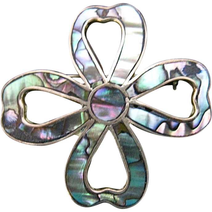Vintage Taxco Mexican Silver & Abalone Pin Bow Shape FE Signed