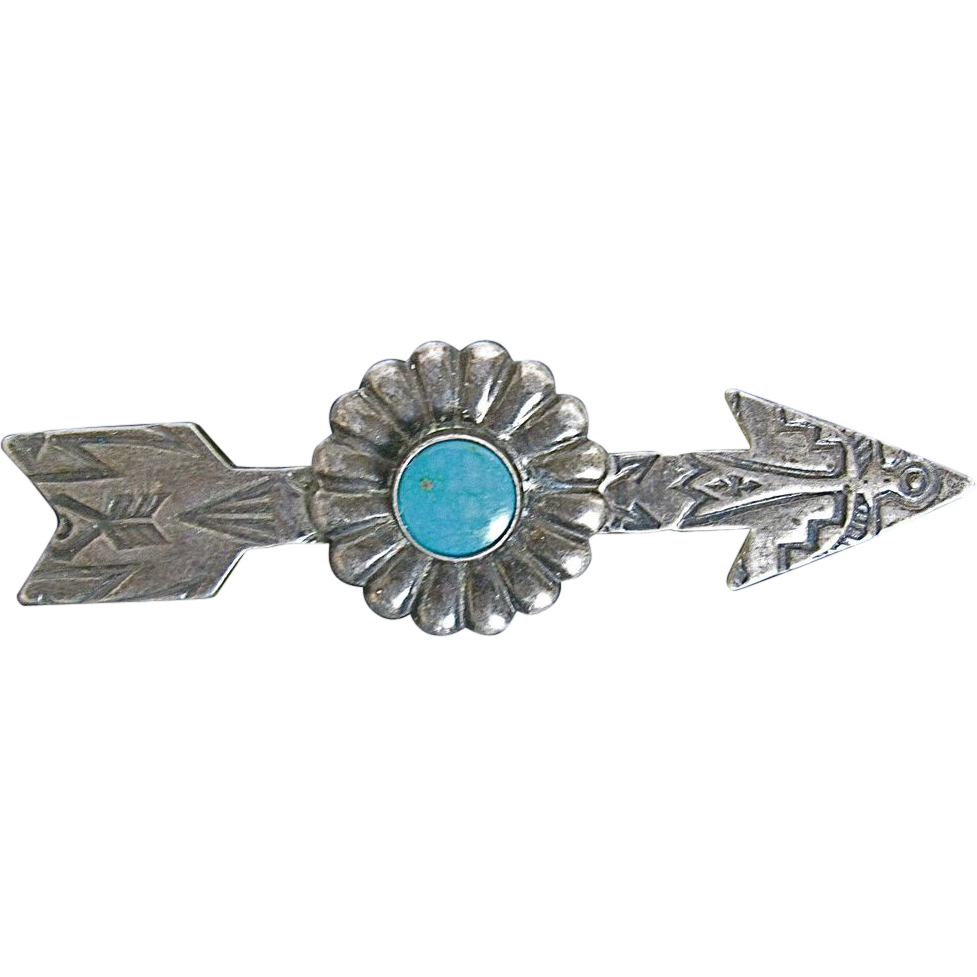 Vintage Navajo Sterling Silver & Turquoise Thunderbird Arrow Pin