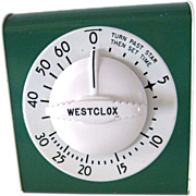 Retro Westclox Kitchen Timer Green & Cream Enamel Lookout Works Great