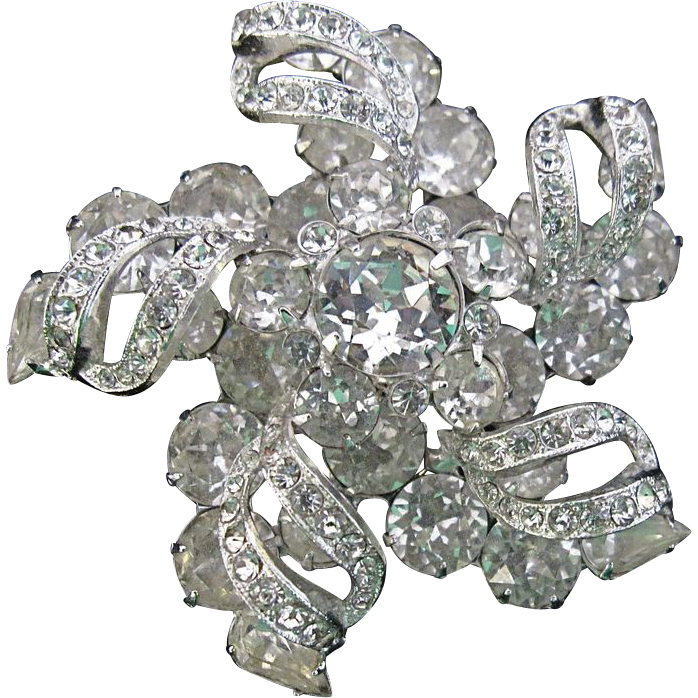 Exquisite Eisenberg Rhinestone Pin Pinwheel Design