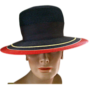 Yves Saint Laurent Vintage 70's Classic Navy Wide Brimmed Hat  Straw