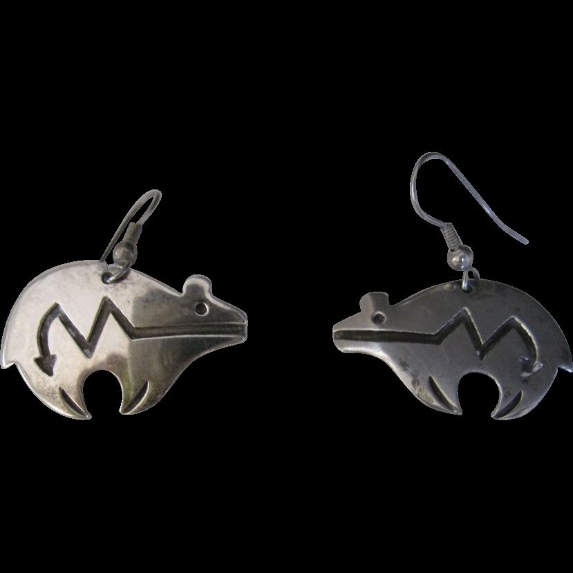 Navajo Sterling Silver Spirit Line Bear Earrings Dangle Marian Begay