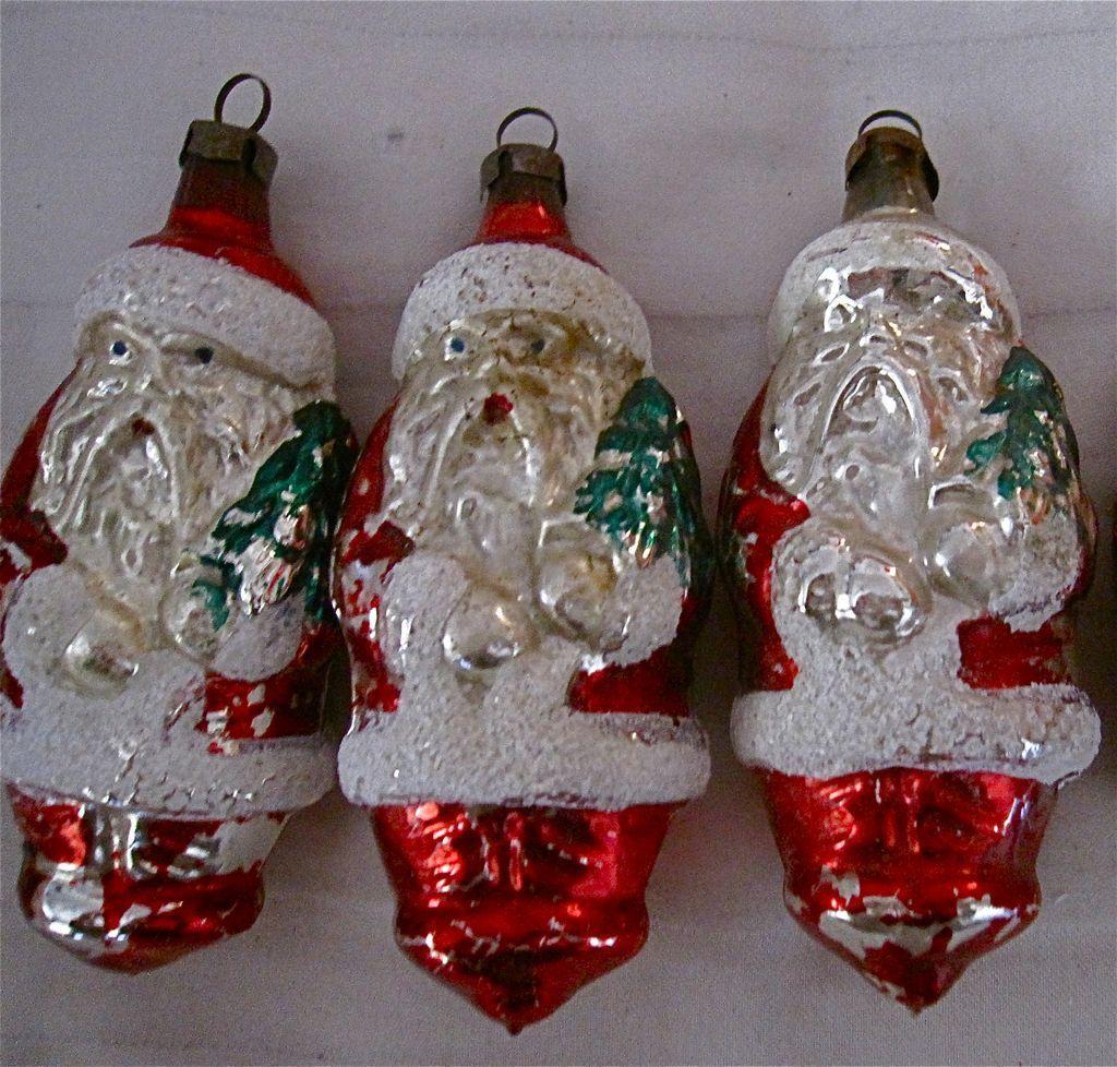 Vintage santa claus glass ornaments quot czechoslovakia hand